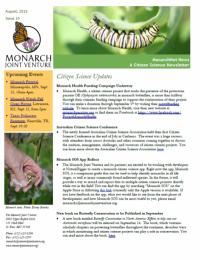 August 2015 newsletter screenshot