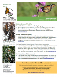 MonarchNet News Citizen Science Newsletter November 2015